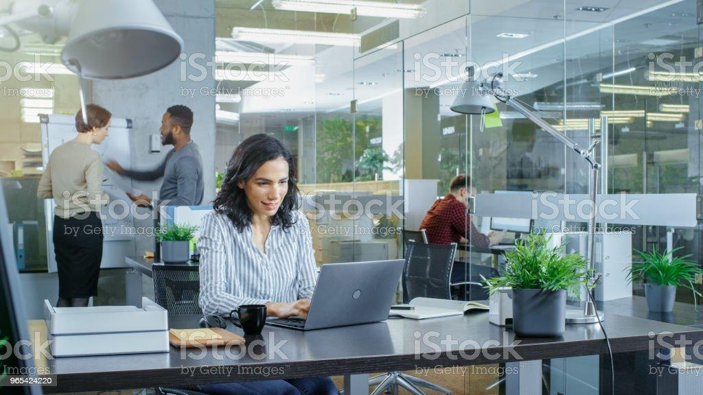 국제 사무소에 그녀의 동료는 작업 배경 관련 대화 하는 그녀의 책상에는 노트북에서 일 하는 아름 다운 히스패닉 여자 바쁜. 밝은 젊은 사람들과 세련 된 사무실입니다. - 로열티 프리 금융 스톡 사진