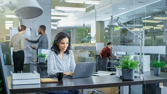 국제 사무소에 그녀의 동료는 작업 배경 관련 대화 하는 그녀의 책상에는 노트북에서 일 하는 아름 다운 히스패닉 여자 바쁜 밝은 젊은 사람들과 세련 된 사무실입니다 금융에 대한 스톡 사진 및 기타 이미지