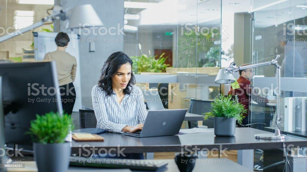 Occupé le Bureau International, belle femme hispanique, travaillant à son bureau sur un ordinateur portable, à l'arrière-plan ses collègues travaillent liées Conversations. Bureau de style avec des jeunes gens brillants. - Photo de A la mode libre de droits