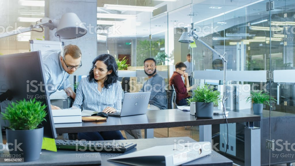 Busy International Office where Diverse Team of Young Businesswomen and Businessmen Work on Laptops, Have Meetings, Discussions and Draw Plans on a Whiteboard. royalty-free stock photo