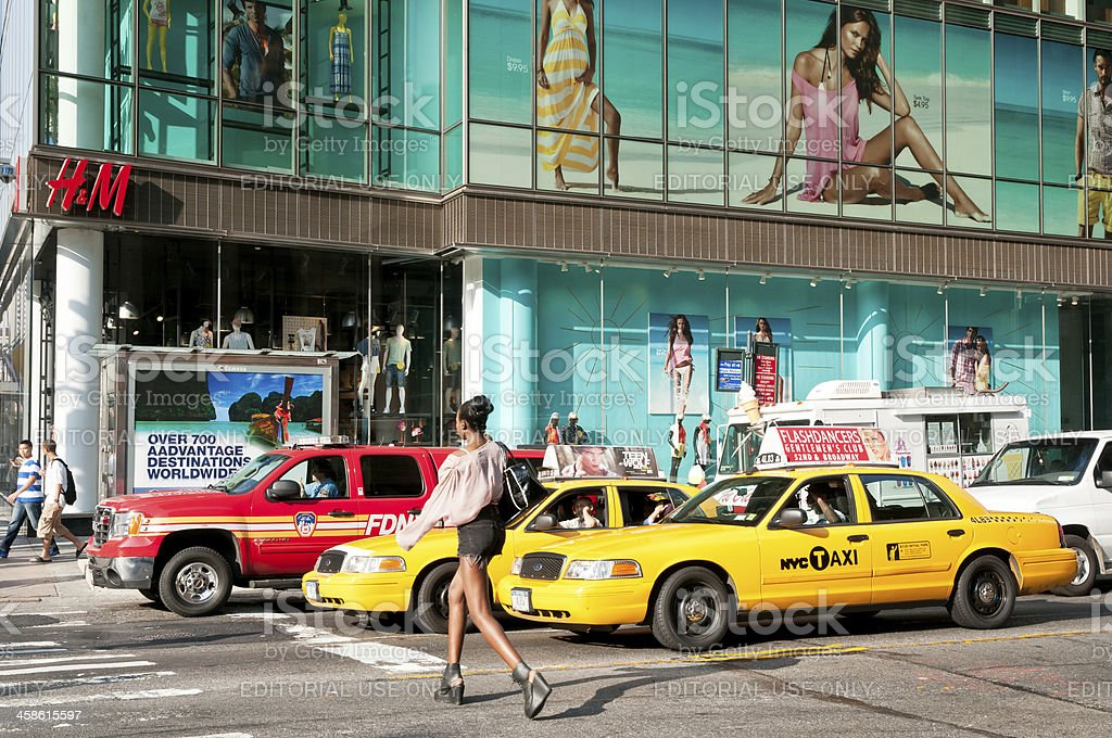 Busy intersection at 42nd Street in New York City stock photo