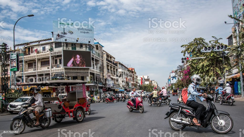 Busy Intersection in Phnom Phen stock photo