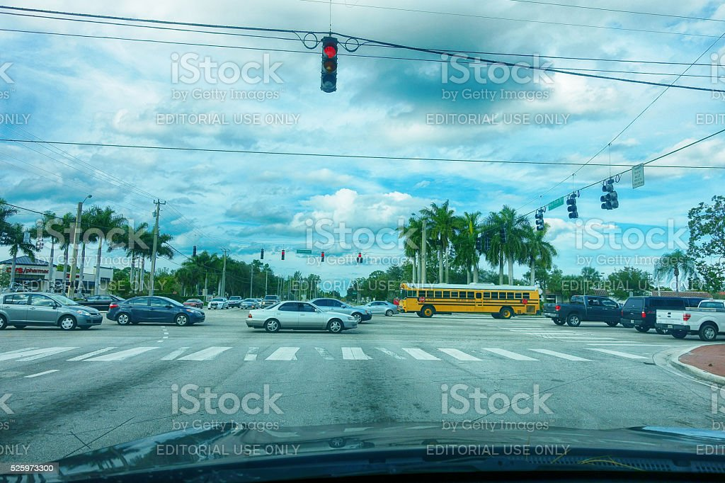 Busy intersection on city streets stock photo