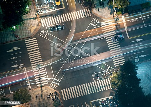 istock Busy Junction at Night from Above 157609368