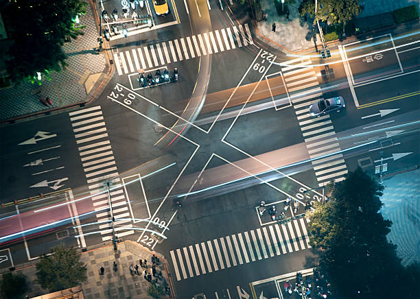 Busy Junction at Night from Above stock photo