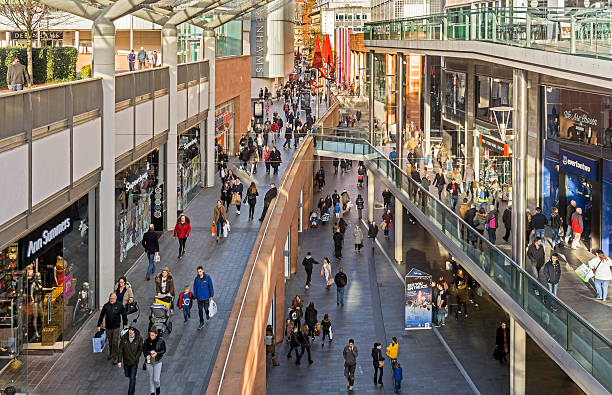 busy liverpool shopping streets - shopping mall stock photos and pictures