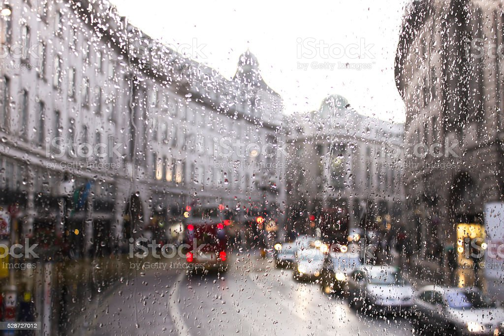busy London traffic in a rainy day stock photo