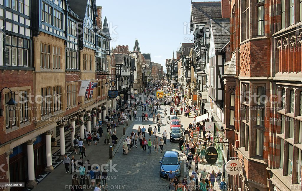 Busy main Street in Chester. royalty-free stock photo