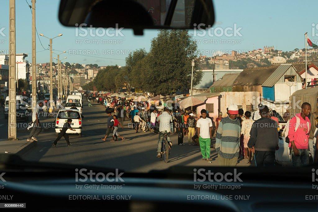 Busy Malagasy people Antananarivo Madagascar street traffic stock photo