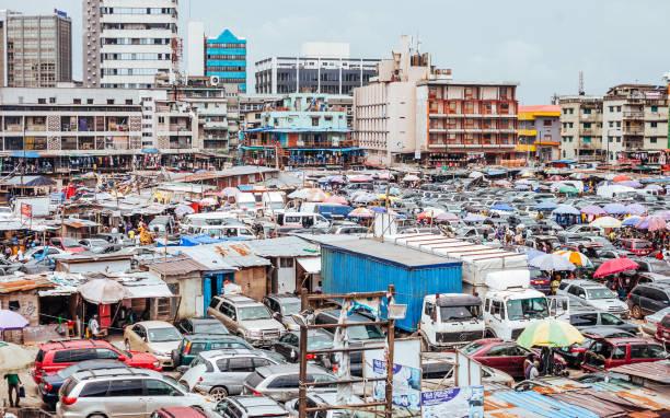 Busy market in Lagos, Nigeria. stock photo