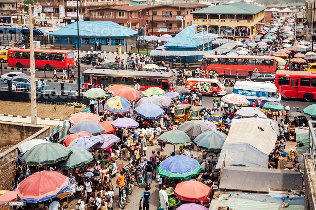 Busy market streets in Ikorodu. Lagos, Nigeria. stock photo