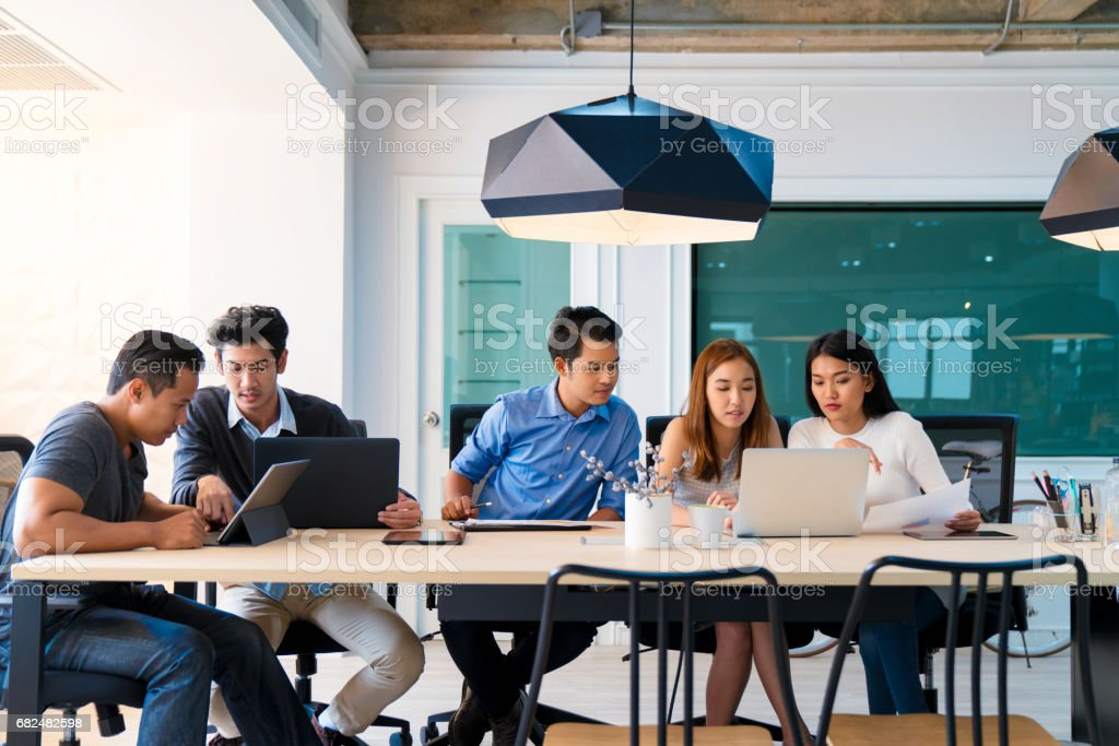 Busy modern office stock photo