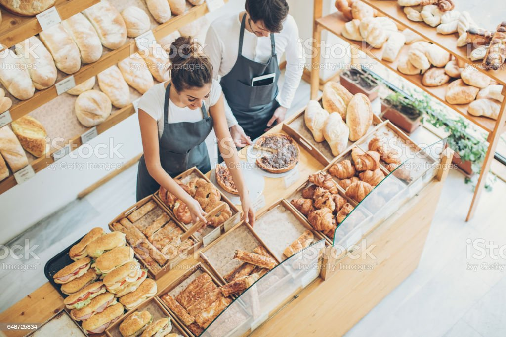 Busy morning in the bakery stock photo