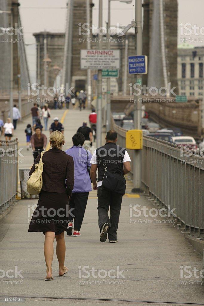 Busy morning on Brooklyn Bridge royalty-free stock photo