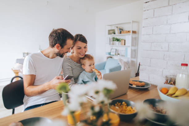 busy mornings together - millennial generation stock photos and pictures