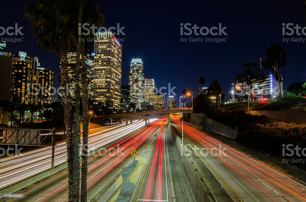 Busy night at Downtown Los Angeles stock photo