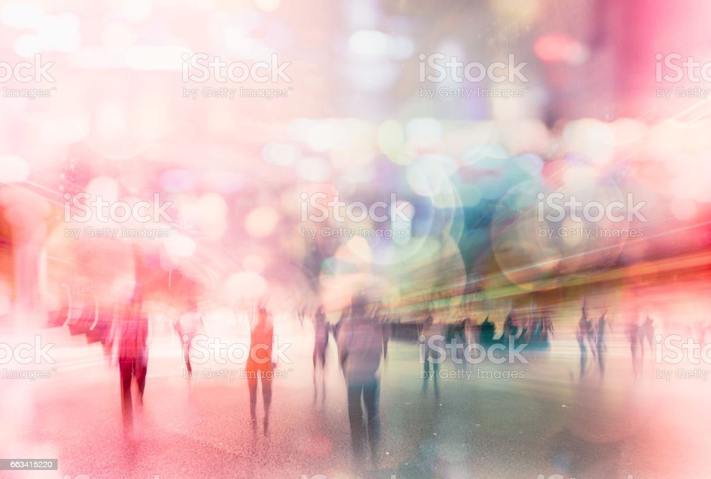 busy nightlife abstract in modern city stock photo