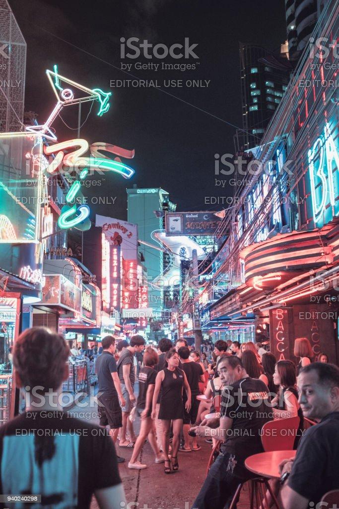 Busy Nightlife On Soi Cowboy, Bangkok, Thailand stock photo