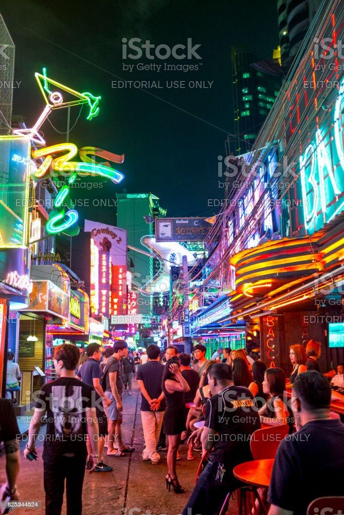 Busy Nightlife Scene In Soi Cowboy, Bangkok, Thailand stock photo