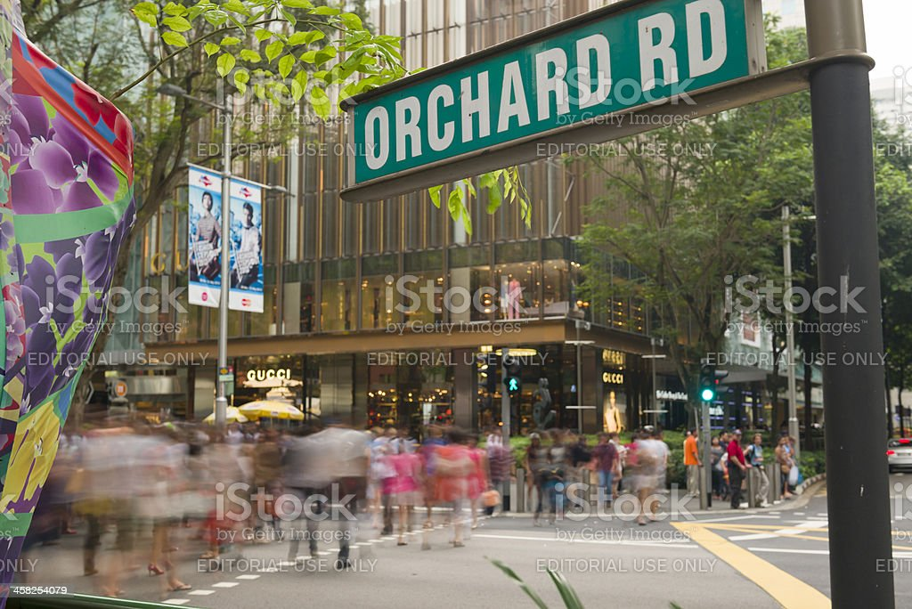 Busy Orchard Road stock photo