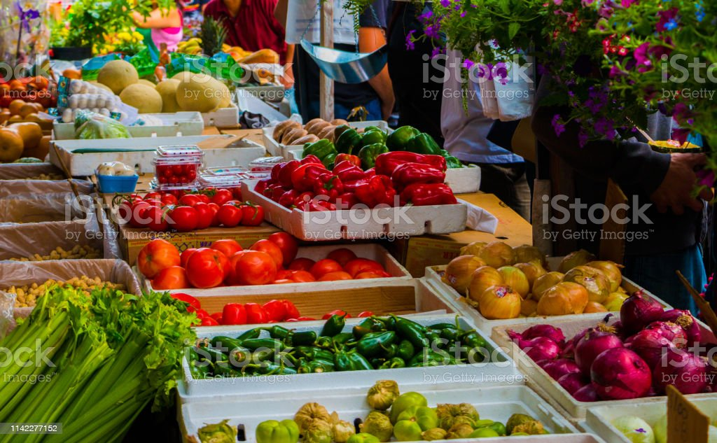 Locally Grown Produce On Display At A busy Inner City Organic Food...