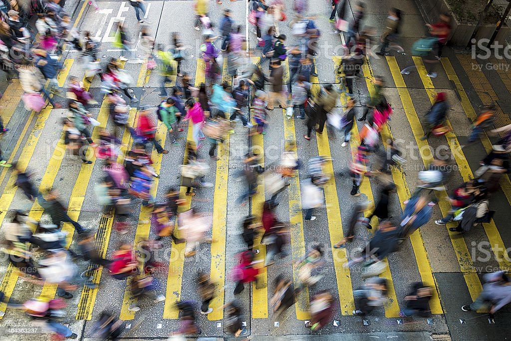 Busy pedestrian crossing at Hong Kong royalty-free stock photo