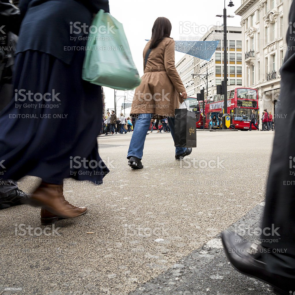 Busy pedestrian crossing at Oxford Circus, London royalty-free stock photo