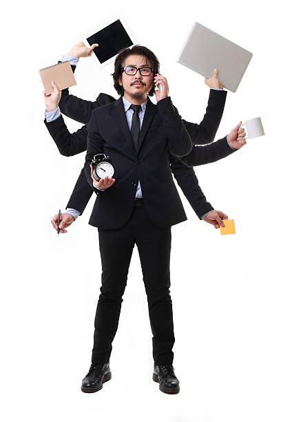Busy The Asian Businessman standing on the white background. multi tasking stock pictures, royalty-free photos & images