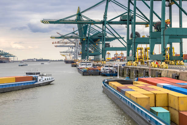 Busy port of Antwerp stock photo