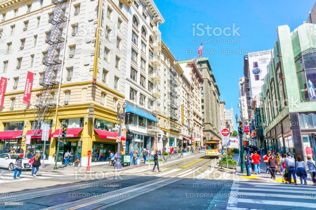 Busy Powell Street in Downtown San Francisco stock photo