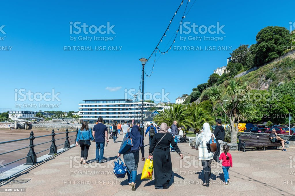 Busy promenade in Torquay, Devon stock photo
