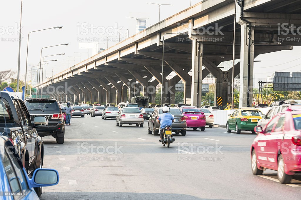 Busy Road And Elevated Highway Bangkok, Thailand royalty-free stock photo