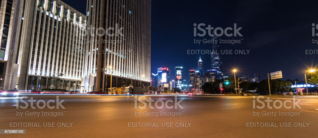 Busy road in The Bund, Shanghai stock photo