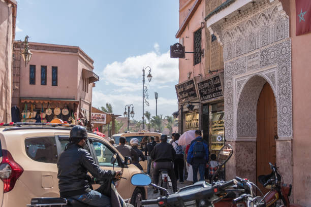 Busy roads of Marrakesh with lots of traffic stock photo