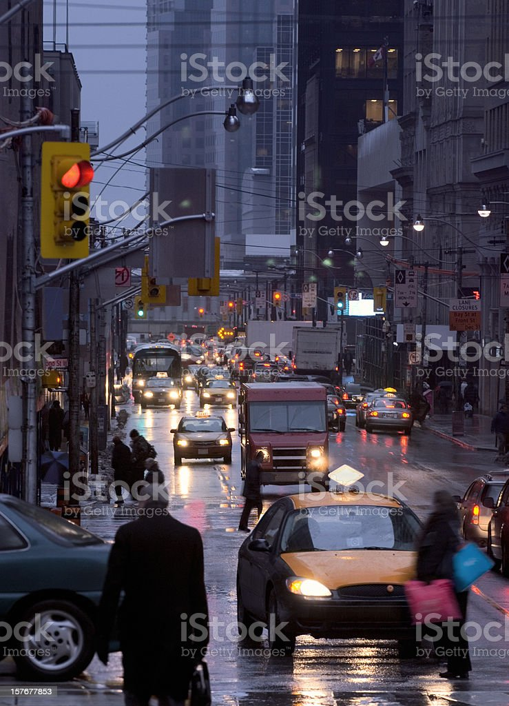 Busy rush hour traffic at Bay Street, Toronto, Canada. stock photo