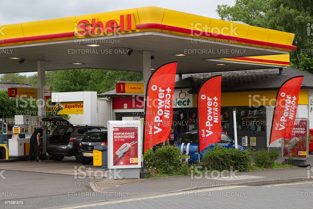 Busy Shell Petrol Station stock photo
