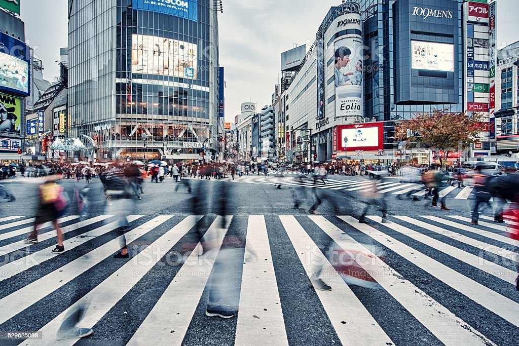 Busy Shibuya crossing in Tokyo,Œjapan stock photo