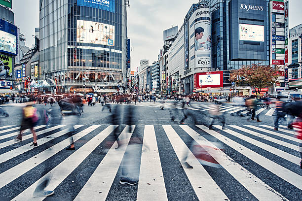 busy shibuya crossing in tokyo,Œjapan - tokyo japan stock photos and pictures