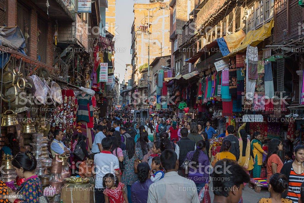 Busy shopping street in Kathmandu, Nepal stock photo
