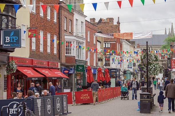 Busy shopping street in Salisbury stock photo