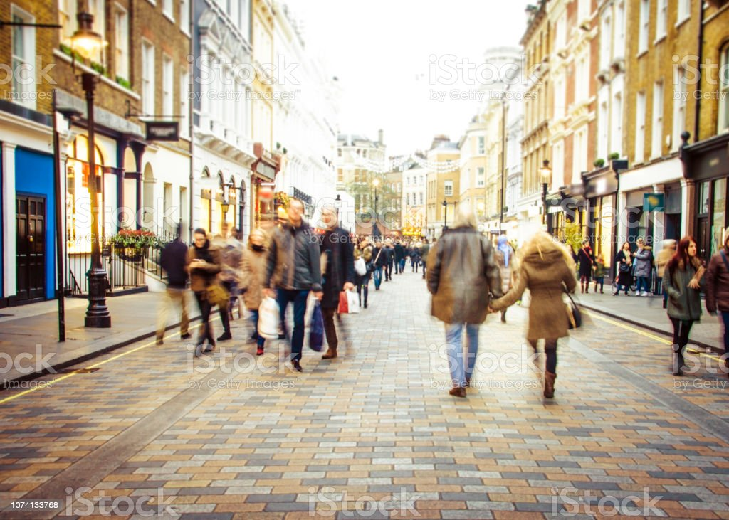 Busy shopping street royalty-free stock photo