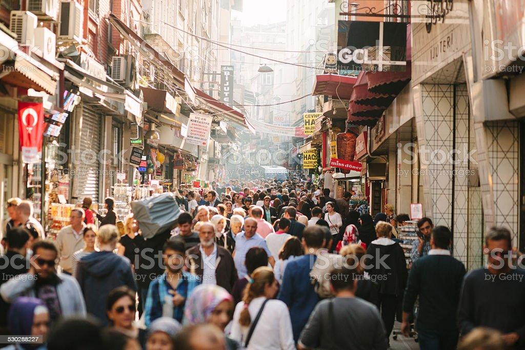 Busy Shopping Street stock photo