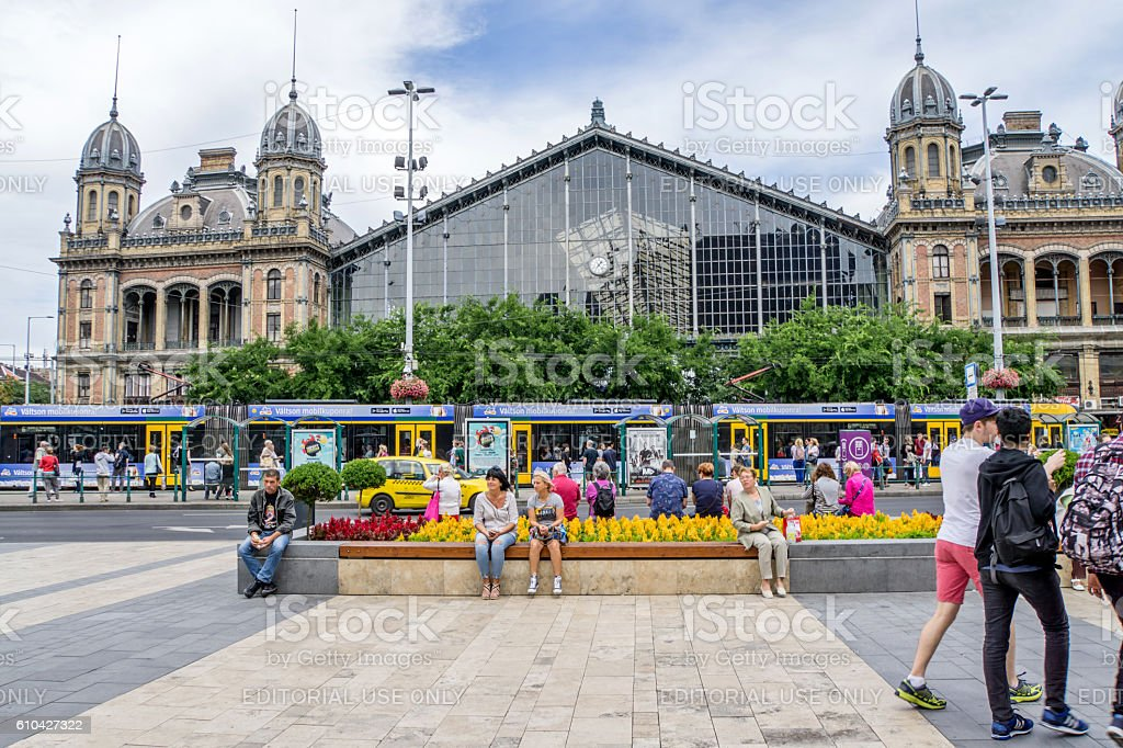 Busy square and railway station forecourt in Budapest stock photo