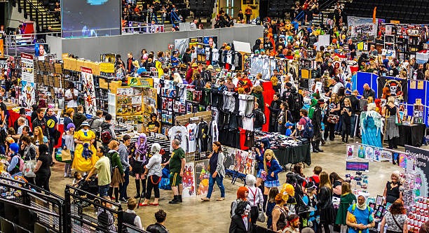 busy stalls at yorkshire cosplay convention - コスプレ ストックフォトと画像