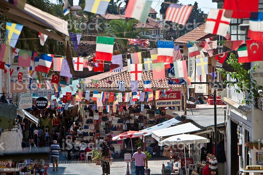 Busy street in (Anatalya) Anatolia, Turkey stock photo