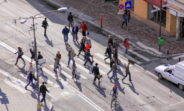 Busy street in Cluj-Napoca city center, Romania stock photo