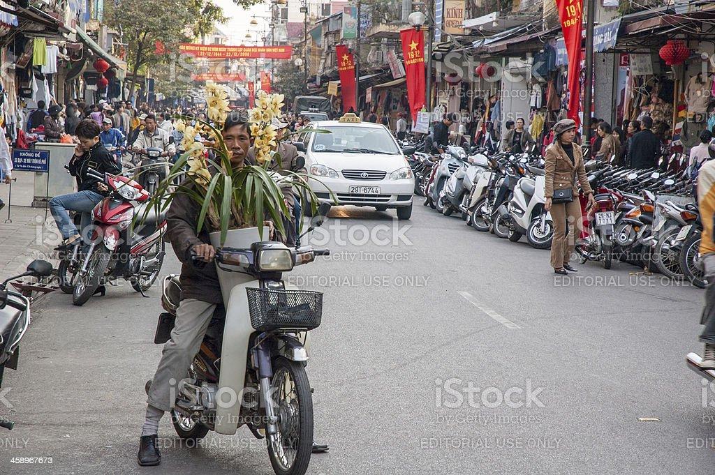 Busy Street In Hanoi's Old Quarter stock photo