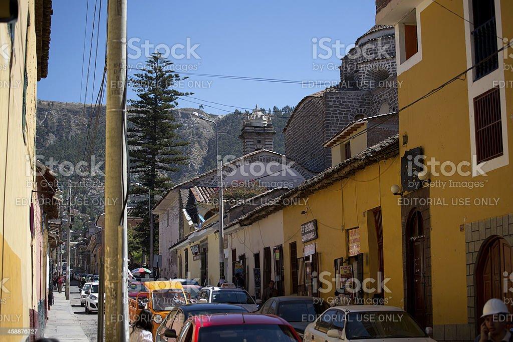Busy street in Huamanga, Peru stock photo
