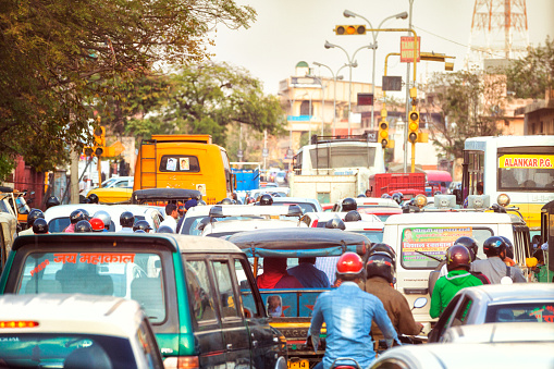 Busy Street In Jaipur India Stock Photo - Download Image Now