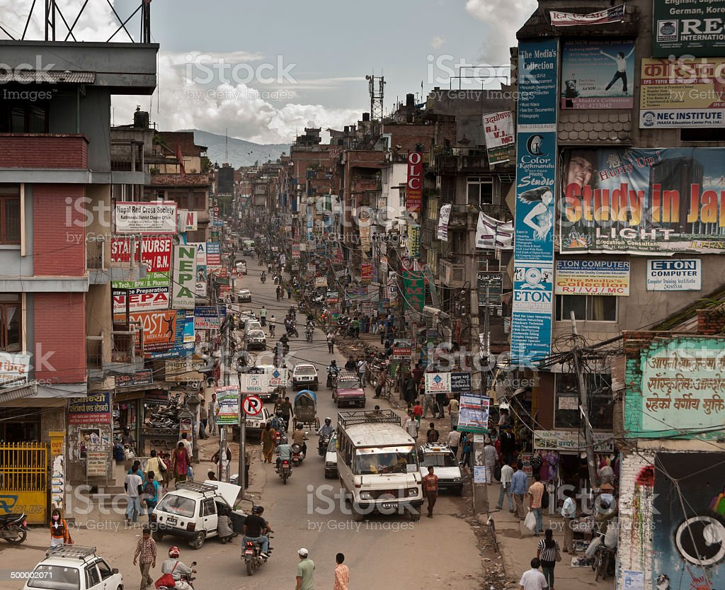 Busy street in Kathmandu, Nepal stock photo